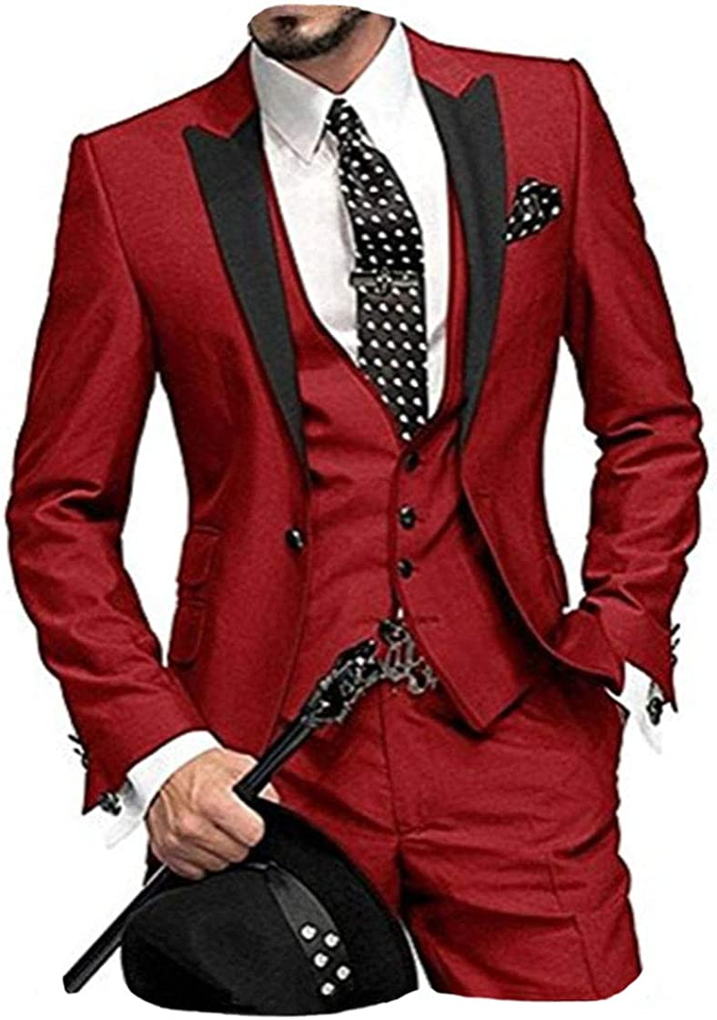 LYXP Men One Button 3 Pieces Notch Wedding Max 83% OFF High quality White Lapel Suits
