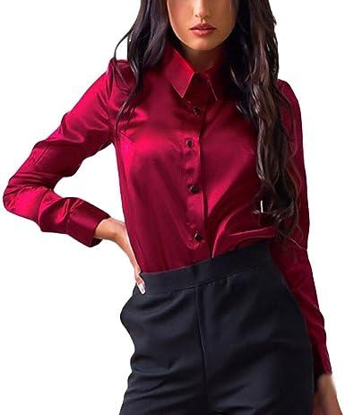 Siswong Blusas Raso Cuello de Solapa Elegantes Casual Mujer de Manga Larga Camisas Formales Oficina Juveniles de Chica Sexys con Botón