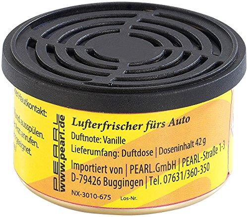 PEARL Kfz Lufterfrischer: Duftdose fürs Auto, Duftnote Vanille, 60 Tage (Lufterfrischer fürs Auto)