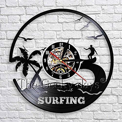 CCGGG Reloj de Pared con Disco de Vinilo artístico para Surf, Tabla de Surf para Windsurf, Deportes acuáticos, decoración de Pared con Vista al mar