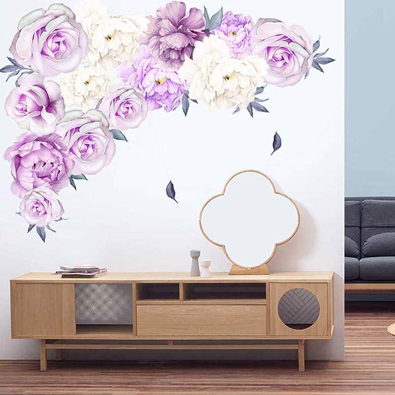 Fine Rose Flowers Wall Sticker Peony Rose Flowers Wall Sticker Art Nursery Decals Kids Room Home Decor Gift