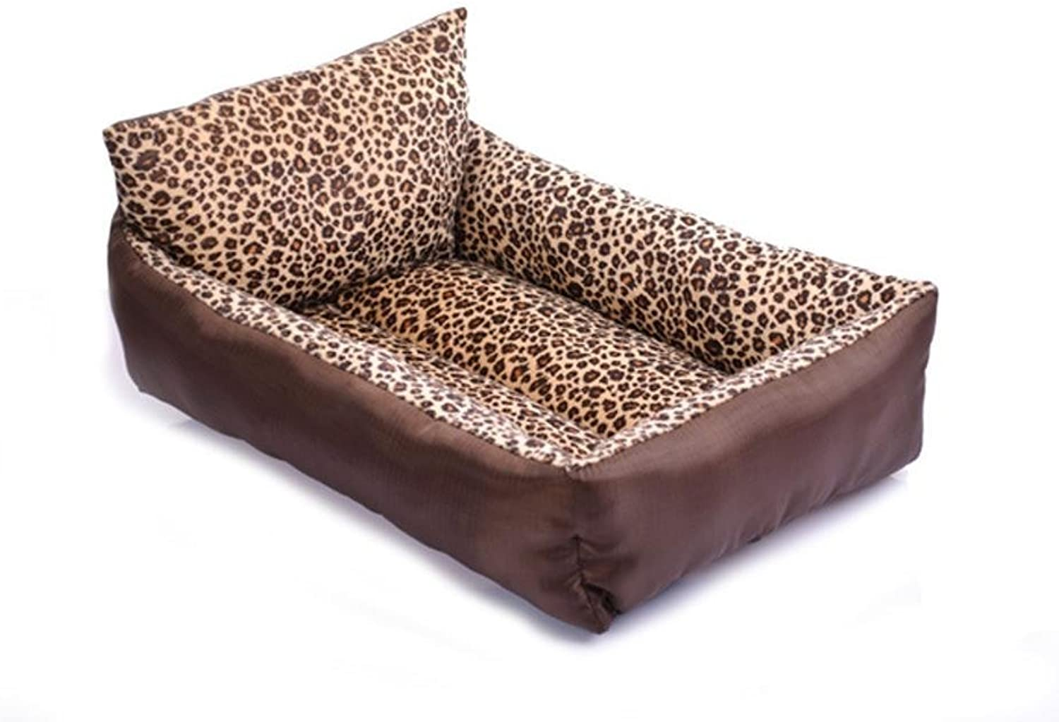 MONFS HOME Pet Bolster Dog Bed Comfort Cloth pillow with leopard pattern pet litter bed (Size   cm)