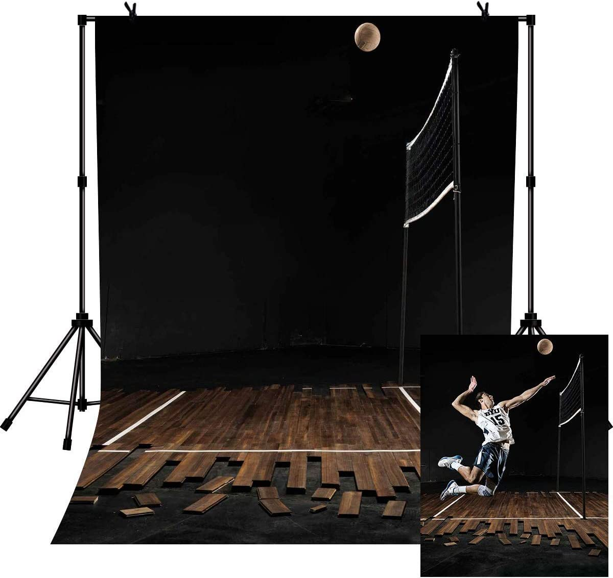 CdHBH 6x9ft Sports Theme Background Wooden Floor Volleyball Game Field Photo Studio Studio Photography Photography Props Portrait Clothing Photo Photography Background Cloth