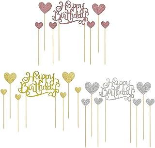gotyou 21 Pièce Cake Topper Happy Birthday, Deco Gateau Anniversaire, Décoration de Gâteau pour Anniversaire Party, Acryli...