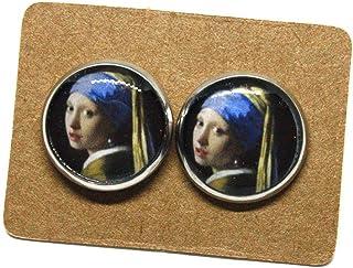 Orecchini La Ragazza con L'orecchino di perla - Orecchini a lobo - Vermeer - Orecchini acciaio