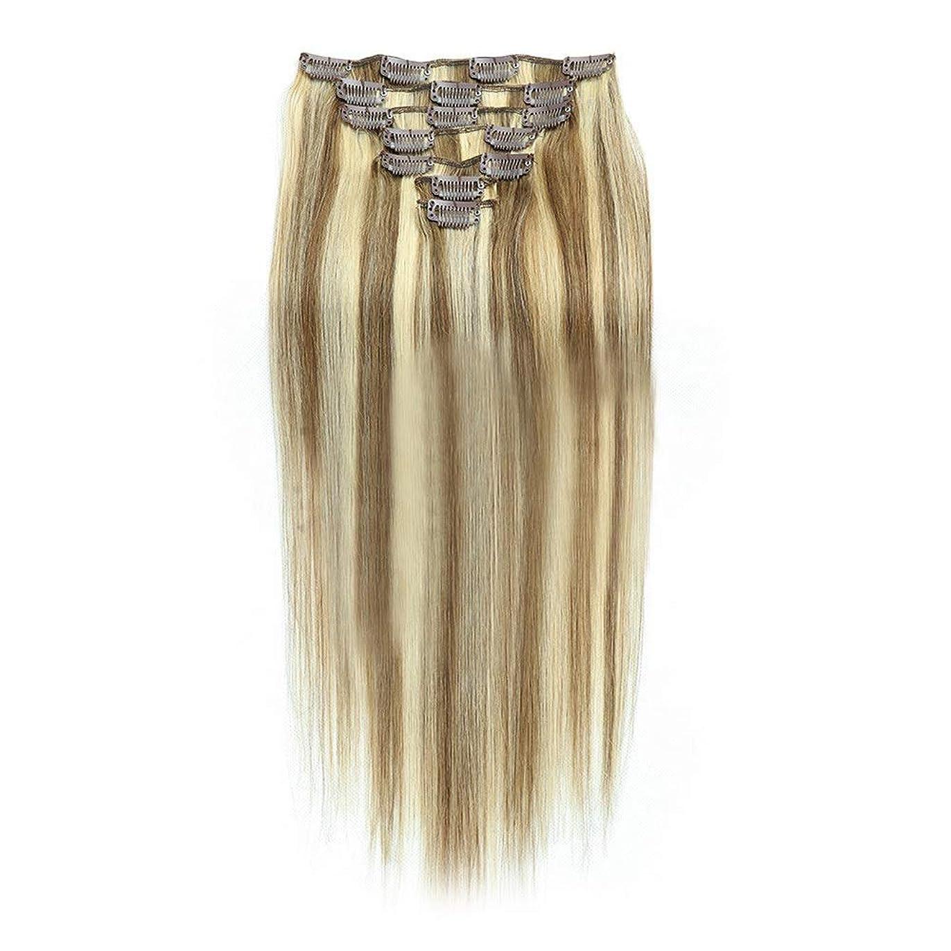 費やす耐久ボーダーHOHYLLYA 20インチクリップinヘアエクステンション人間の髪の毛の色#8/613アッシュブロンドミックスブラウン7個ロールプレイングかつら女性のかつら (色 : #8/613)