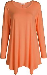 12e0648261b8cb Esenchel Women s Long Sleeves Tunic Top for Leggings Flared Shirt