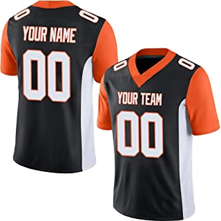 SEVEN-S Black Custom Football Jerseys for Men Women Youth Embroidered Team Name and Your Numbers