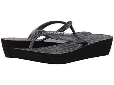 Havaianas High Light II Flip Flops (Black/Graphite) Women