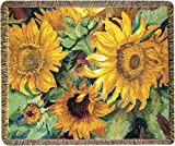 CC Home Furnishings Yellow and Green Sunny Faces Throw Blanket with Fringe Border 60' X 50'