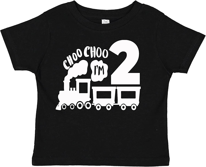 Choo Choo I'm Two Year Old Birthday Train Theme Toddler Tee Shirt (Assorted Colors)