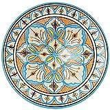 Orientalische Keramikschale Keramikteller Rund Adna Ø 35cm Groß   Farbige marokkanische Keramik Schale Teller bunt aus Marokko   Orient große Keramikschalen flach Geschirr orientalisch handbemalt