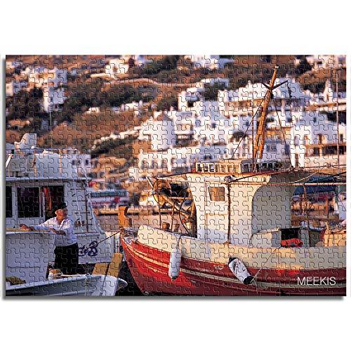 OKJK Barco Junto al mar Rompecabezas para Adultos 1000 Piezas Decoración de la Sala Juguete Diversión Juego Madera Educación Exploración 75 cm x 50 cm
