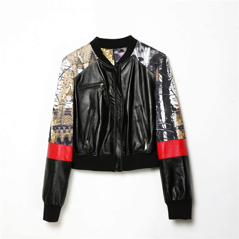 Leather Jackets Female Sheepskin Patchwork Printed Baseball Uniform Round Neck Casual Short Leather Jacket Coat,L