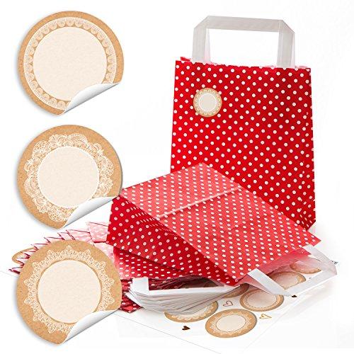 24 petits rouge blanc petits sacs en papier Sacs cadeaux sacs papier Anse avec sol 18 x 8 x 22 cm + 24 pages blanches avec tour 4 autocollants cm Papier Kraft dentelle beige emballage