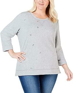 Karen Scott Womens Plus Grommet Embellished Sweatshirt