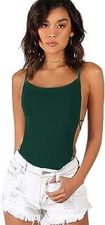 Verdusa Women's Sleeveless Scoop Neck Strappy Backless Bodysuit
