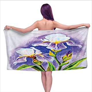 Bath Towels Prime Watercolor Flower Decor Collection,Painting of Iris Flower Elegant Spring Season Blooming Plant Nature Art,Violet Green Blue,W12 xL35 for Kids Mickey Mouse