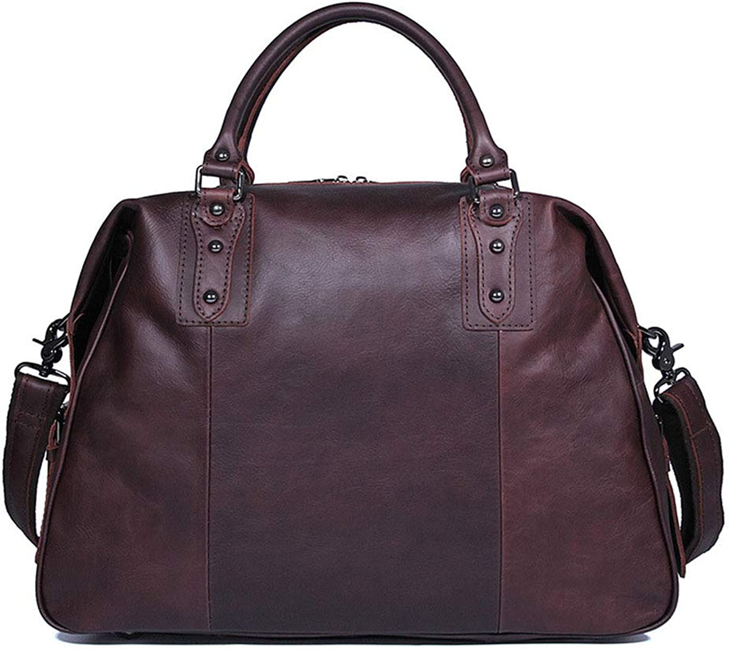 Sturdy Fashian Men's Travel Leather Handbag Oil Wax Leather Bags Business Travel Bags Large Capacity (color   Brown)