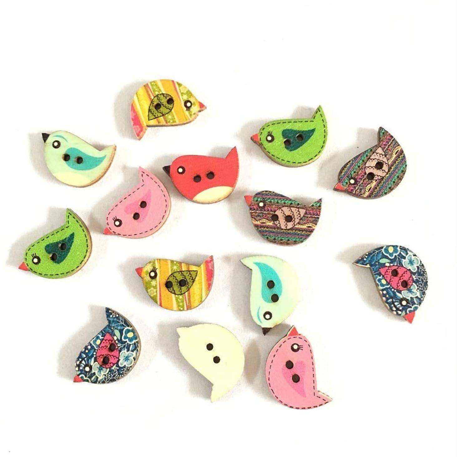 Jicorzo - 50pcsのミックス木製ボタンのかわいい鳥のパターンDecoratiラウンド2つの穴木製縫製するためのボタン、DIY、衣料品アクセサリー