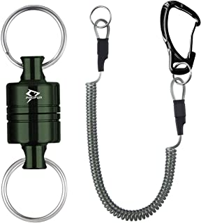 Piscifun Magnetic Release Holder with Coil Carabiner Clip Magnetic Net Release for Fly Fishing