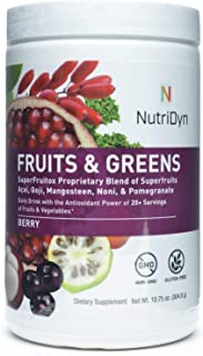 NutriDyn Fruits & Greens Berry Flavor *Certified Organic* w/ Acai, Gogi, Mangosteen, Noni & Pomegranate Super Fruits 304.8 Grams (Berry)