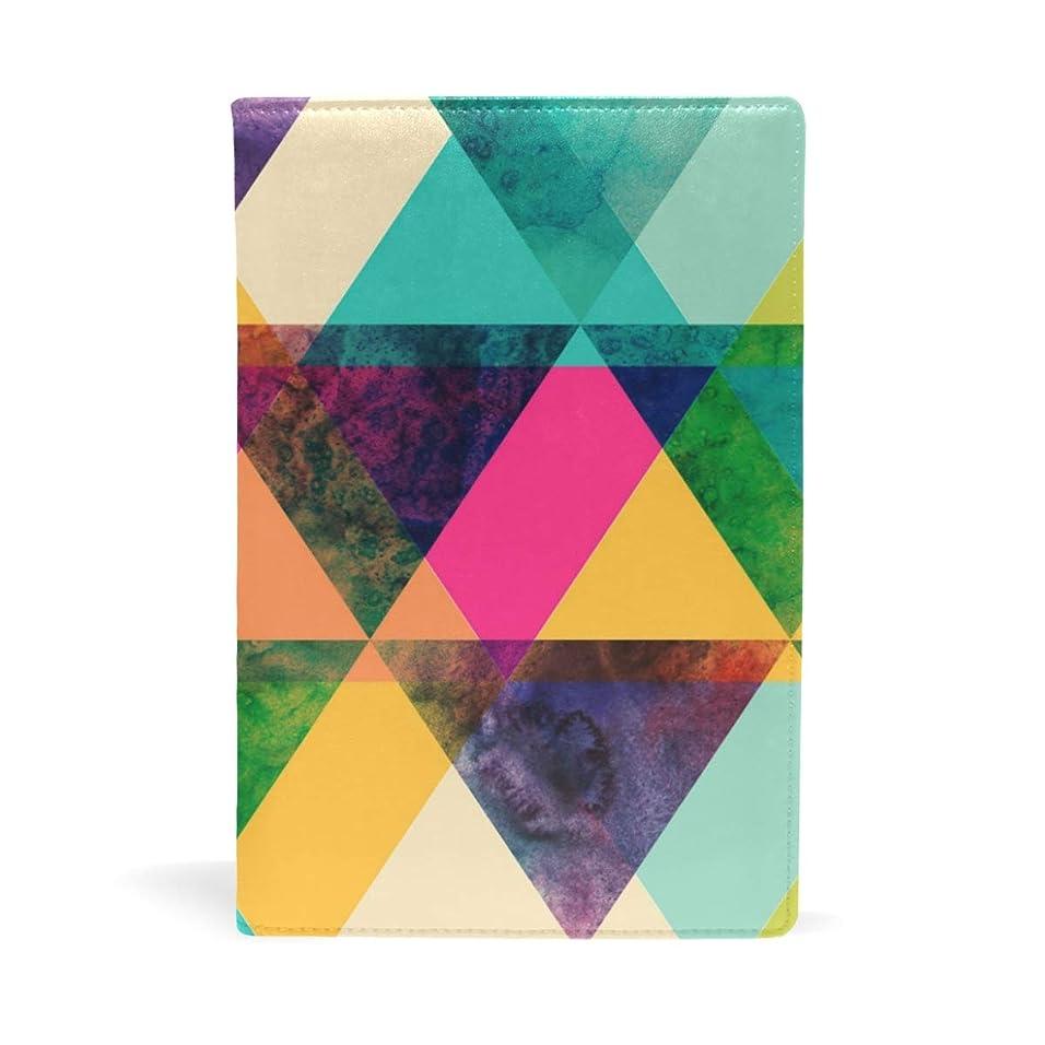 うねる年感謝祭ブックカバー 文庫 a5 皮革 新書 かわいい 本カバー ファイル 資料 収納入れ オフィス用品 読書 雑貨 プレゼント 三角形柄 カラフル 幾何学