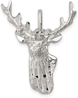925 Sterling Silver Deer Head Pendant Charm Necklace Animal Man Fine Jewelry Gift For Dad Mens For Him