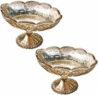 Gold Glass Compote, Bowl with Pedestal Base, Mercury Glass, Beaded Motif, Home and Wedding Centerpiece, Holiday Table Decor, 4.25 Inches, (Oval), (Gold), (2 Pack)