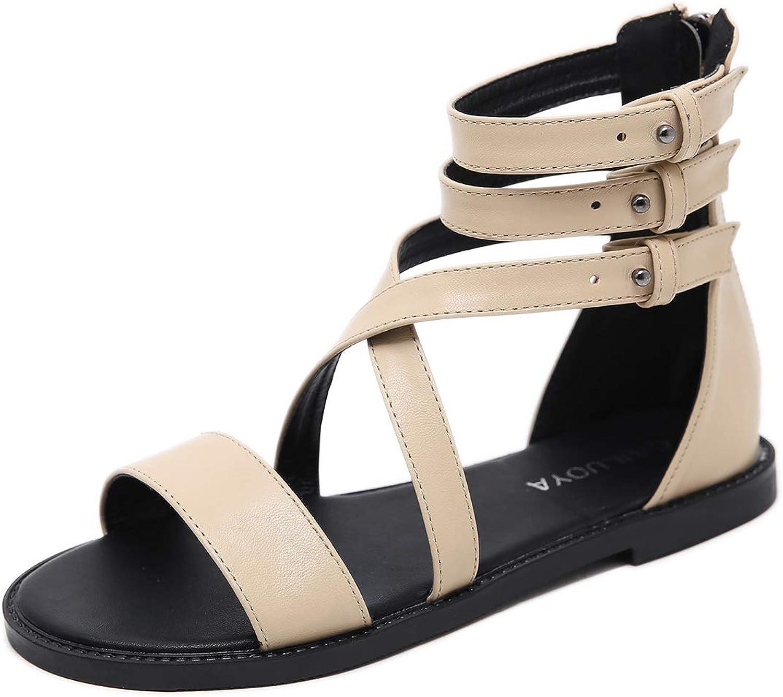 Soulength Women Ankle Strap Flat Sandals Flip Flop Platform 603 Roma Strappy T Strap Thong Beach shoes,40