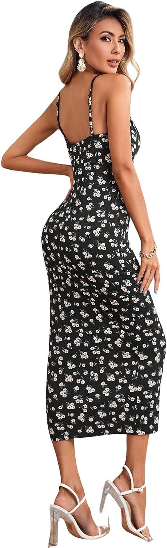 SheIn Women's Tie Front Floral Print Sleeveless Cami Bodycon Pencil Midi Dress