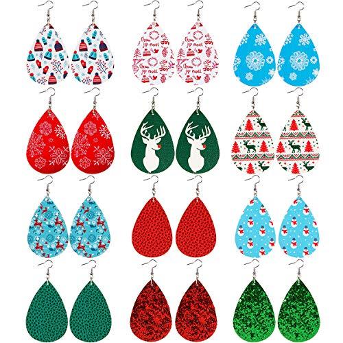 9 Paar Kunstleder-Ohrringe Tropfenform baumelnd Blütenblatt leicht handgemacht mit Silikon klare...