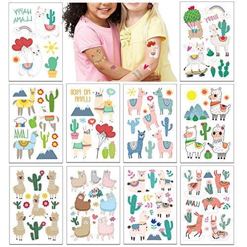 PHOGARY Kinder Tattoos temporäre (60 Stück +), Lama Party Tattoos (10 Blatt) für Kindergeburtstag Party Favors - Alpaka, Regenbogen, Kaktus, gefälschte wasserdichte Tattoos für Jungen Mädchen