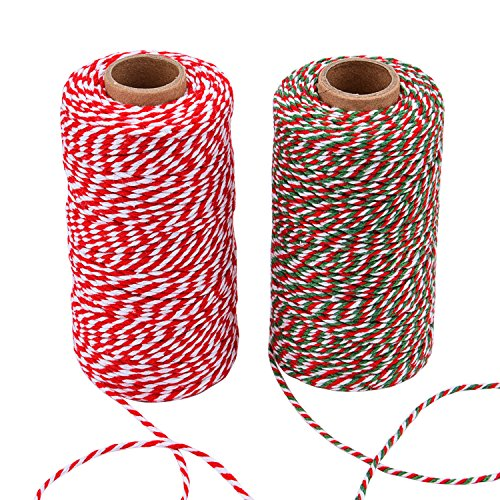Sunmns Christmas Twine Cotton String Rope Cord for Gift Wrapping, Arts Crafts, 656 Feet (Multicolor C)