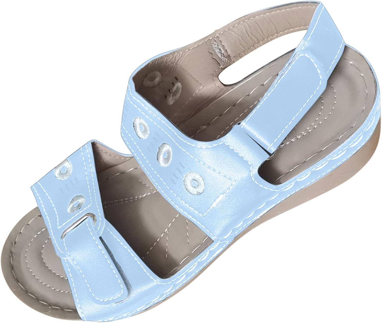 Women Sandals Wedge Platform Sandals Open Toe Soft Sole Sandals Comfortable Hook and Loop Walking Shoes