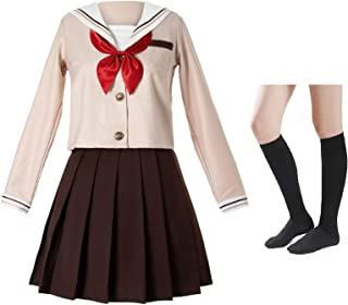 Japanese School Girls Sailor JK Uniform Brown Pleated Skirt Anime Cosplay Costumes with Socks Set(SSF28)