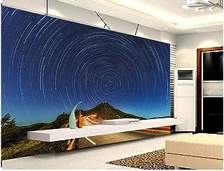 FTFTO Matériel de Vie Papier Peint 3D Décoration Murales Murales Northern Lights Mountain Peak-250Cmx175Cm