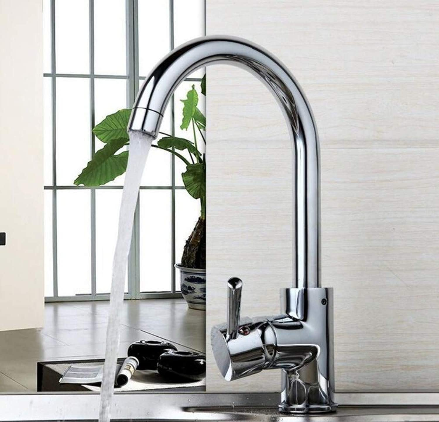 Faucet Kitchen Washing Basin 360 Swivel Luxury Stream Spout Deck Mounted Faucet Chrome Brass Tap Hot & Cold Water Mixer Kitchen Faucets Sink Taps