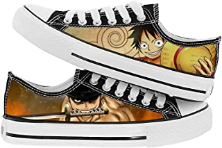 JPTYJ One Piece Monkey·D·Luffy/Roronoa Zoro Hommes Espadrilles Anime à Lacets Toile Baskets Chaussures Cosplay Bottines po...