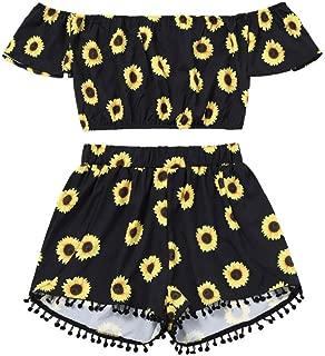 FAPIZI Women Off Shoulder Sunflower Print Short Crop Tops +Tassel Shorts Two-Piece Outfit