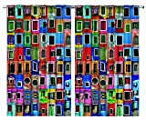 Ambesonne Colorful Curtains, Mediterranean Village Colorful Painted Rustic Windows Tuscan Collage Italy Art, Living Room Bedroom Window Drapes 2 Panel Set, 108' X 90', Rainbow Colors