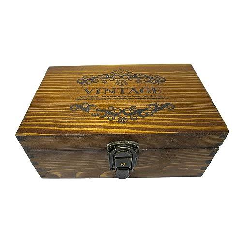 アンティーク風 木目が オシャレな VINTAGE柄 カギ付き 木箱 収納ボックス 秘密の木箱