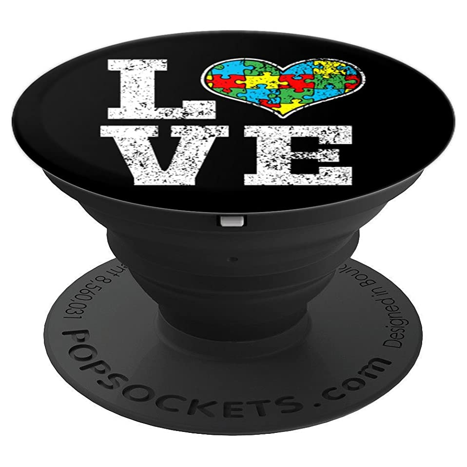 Cute Autism Awareness Puzzle Piece Love Heart - Autism gifts - PopSockets Grip and Stand for Phones and Tablets