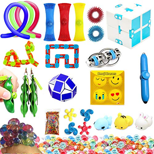 The Master Silent Sensory Fidget Toys for Classroom Classic 23 Pack Stress Relief and Anti-Anxiety for Kids and Adults Fidget Infinity Cube, Squeeze Balls, Soybean Squeeze, Flippy Chain & More