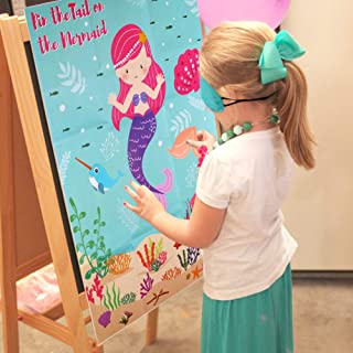 Aparty4u Pin The Tail on The Mermaid Birthday Games for Kids Party, Under The Sea Party Games for Kids Birthday Party Decorations