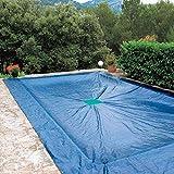 WerkaPro 11184 - Bâche de Protection - En polyéthène - Traitée anti-UV - 6 x 12 m - Pour Piscine rectangulaire - 240 gr/m² - Marine