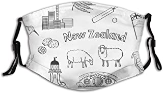 Collection Hand Drawings New Zealand Miscellaneous Dust Face Cover Mask Washable Mouth Guard with Replaceable Filter Activ...