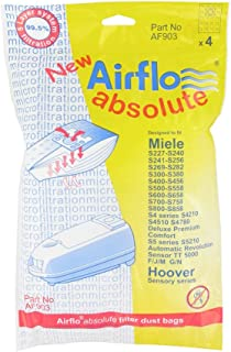 Airflo AF903 European Manufactured Absolute Miele FJM/GN and Hoover Sensory SMS Bags, Pack of 4