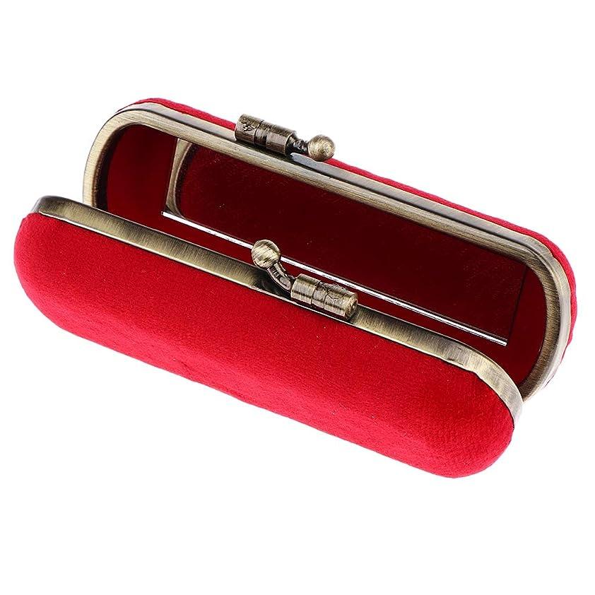高揚したコンチネンタル倍増CUTICATE 8色選ぶ ヴィンテージ 化粧ポーチ 口紅ホルダー ミラー付き リップグロスホルダー 化粧ケース - レッド