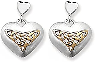 Celtic Trinity Knot Heart Sterling Silver Stud Earrings With 9ct Gold Trinity Knot Centre Drop